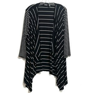 Chicos Travelers Striped Open Front Cardigan